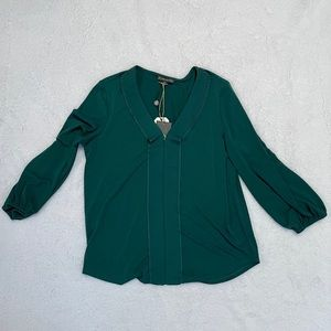 Adrianna Papell green ruffled blouse